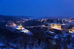 Night view of Veliko Tarnovo, the former capital of Bulgaria Royalty Free Stock Image
