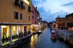 Night view of venetian canal Royalty Free Stock Photo