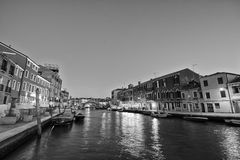 Night view of venice in black and white Stock Photo