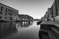 Night view of venice in black and white Stock Photography