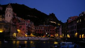 Night view of Vernazza, one of the most famous Cinque Terre sea towns in the region of Liguria, a famous touristic landmark