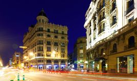Night view of Via Laietana.  Barcelona Stock Photography