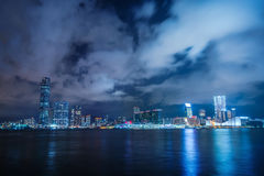 Night view Victoria Harbor Stock Photography