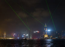 Night view of Victoria harbor and skyscrapers in Hong Kong Stock Photo