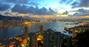 Night view of Victoria Harbour Royalty Free Stock Photos