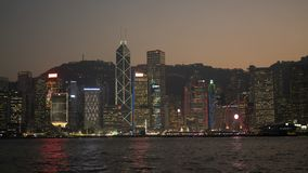 The night view of Victoria Harbour royalty free stock image
