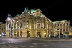 Night view of the Vienna State Opera, Austria Royalty Free Stock Photos