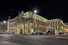 Night view of the Vienna State Opera, Austria Stock Photography