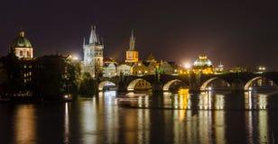 Night view of Vltava river and bridges in Prague Stock Images