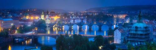 Panorama of Prague with bridges on Vltava river. Night view of the Vltava river, bridges and Prague panorama, the Czech Republic Royalty Free Stock Photography