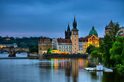 Night view on Vltava river, Charles Bridge and tower in Prague, Czech Republic Royalty Free Stock Photos