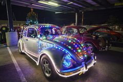 Night view of Volkswagen Bettle car party. Temple City, DEC 8: Night view of Volkswagen Bettle car party on DEC 8, 2018 at Temple City, Los Angeles County stock photos