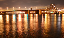 Night view of Volodarsky bridge Stock Images