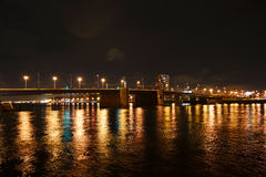 Night view of Volodarsky Bridge in St Petersburg Stock Photo