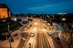 Night view on Warsaw from the bridge of the central square. Poland stock photography