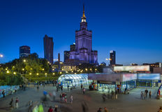 Night view of Warsaw center, Royalty Free Stock Photo