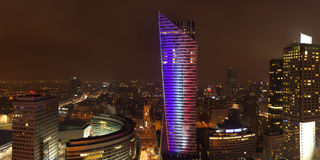Night view of  warsaw center city building in Poland in Europe Royalty Free Stock Images