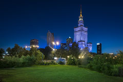 Night view of Warsaw city downtown Stock Photo