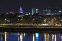 Night view of Warsaw downtown Royalty Free Stock Images