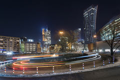 Night view of  Warsaw  Financial Center Stock Images