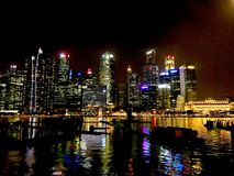 CBD in Singapore - a lively night royalty free stock images