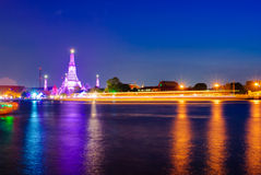 Night view at Wat Arun Stock Images