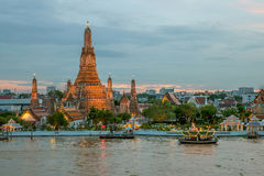 Night view of Wat Arun temple and Chao Phraya River, Bangkok, Th Stock Images