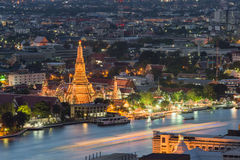 Night view of Wat Arun temple and Chao Phraya River, Bangkok, Th Royalty Free Stock Image
