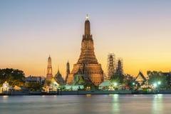 Night view of Wat Arun temple and Chao Phraya River, Bangkok, Th Royalty Free Stock Image