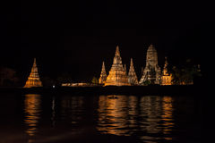 Night view of Wat Chaiwatthanaram temple Royalty Free Stock Images