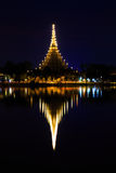 Night view of Wat Nong Wang Temple Royalty Free Stock Photography
