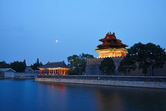 A night view of a watch tower of the forbidden city Royalty Free Stock Photos