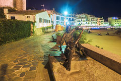 Night view of the waterfront in Tossa de Mar. Spain Royalty Free Stock Photography