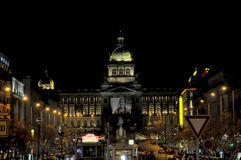 Night view of Wenceslas Square in the New Town of Prague Royalty Free Stock Photography