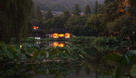 A night view of West Lake Hangzhou Stock Photo
