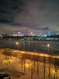 Night view of winter Moscow. Night view of Moscow-river and city, Technopark and building of new Disneyland Stock Photo
