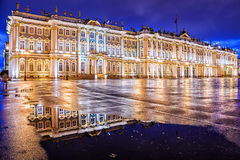 Night view of the Winter Palace in St. Petersburg Royalty Free Stock Photography