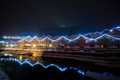 Night view of a winter resort Royalty Free Stock Images