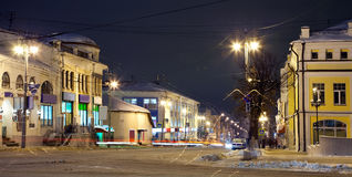 Night view of wintry street Royalty Free Stock Image
