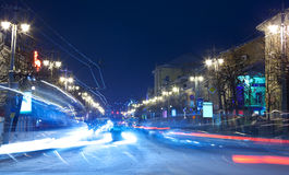 Night view of wintry street Stock Images
