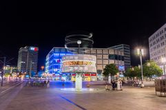 A night view of the World Clock at Alexanderplatz. stock photos