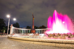 Night view of World War Fountain and Heroes Monument of Red Army on Schwarzenbergplatz. Vienna, Austria, October 13, 2016: Night view of World War Fountain and stock images