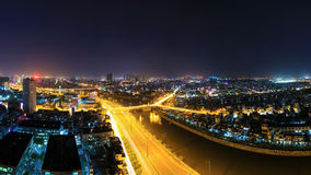 Night view of Y character bridge at Ho Chi Minh Riverside with Ben Nghe or Tau Hu canal Royalty Free Stock Images