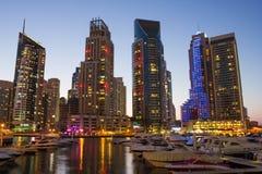Night view Yacht Club in Dubai Marina Stock Photo