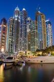 Night view Yacht Club in Dubai Marina Stock Photography