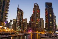 Night view Yacht Club in Dubai Marina Stock Image