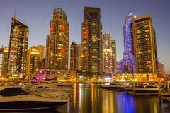 Night view Yacht Club in Dubai Marina Royalty Free Stock Image