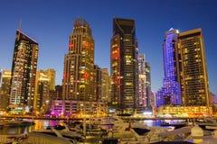 Night view Yacht Club in Dubai Marina Stock Photos