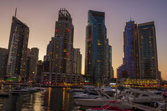 Night view Yacht Club in Dubai Marina Royalty Free Stock Images