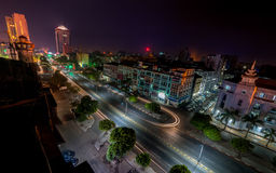 Night view of Yangon cityscape. Myanmar (Burma) Royalty Free Stock Image